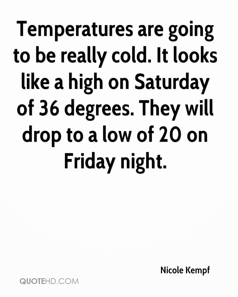 Temperatures are going to be really cold. It looks like a high on Saturday of 36 degrees. They will drop to a low of 20 on Friday night.