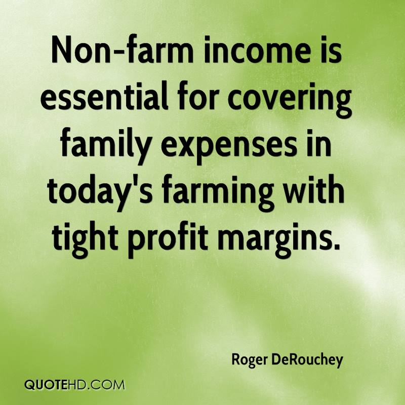 Non-farm income is essential for covering family expenses in today's farming with tight profit margins.
