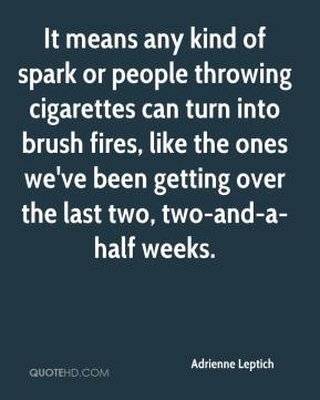 Adrienne Leptich - It means any kind of spark or people throwing cigarettes can turn into brush fires, like the ones we've been getting over the last two, two-and-a-half weeks.