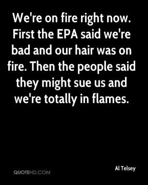Al Telsey - We're on fire right now. First the EPA said we're bad and our hair was on fire. Then the people said they might sue us and we're totally in flames.