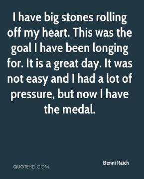 Benni Raich - I have big stones rolling off my heart. This was the goal I have been longing for. It is a great day. It was not easy and I had a lot of pressure, but now I have the medal.