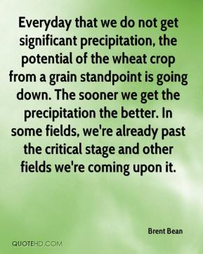 Brent Bean - Everyday that we do not get significant precipitation, the potential of the wheat crop from a grain standpoint is going down. The sooner we get the precipitation the better. In some fields, we're already past the critical stage and other fields we're coming upon it.