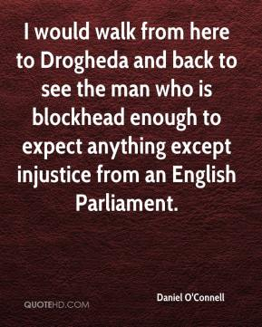 Daniel O'Connell - I would walk from here to Drogheda and back to see the man who is blockhead enough to expect anything except injustice from an English Parliament.