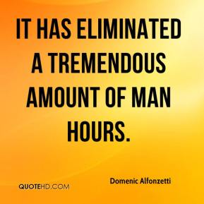 It has eliminated a tremendous amount of man hours.