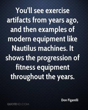 Don Figarelli - You'll see exercise artifacts from years ago, and then examples of modern equipment like Nautilus machines. It shows the progression of fitness equipment throughout the years.