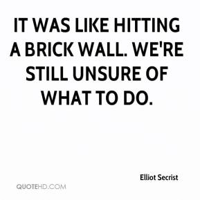 Elliot Secrist - It was like hitting a brick wall. We're still unsure of what to do.