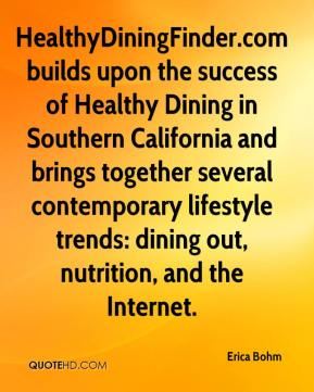 Erica Bohm - HealthyDiningFinder.com builds upon the success of Healthy Dining in Southern California and brings together several contemporary lifestyle trends: dining out, nutrition, and the Internet.