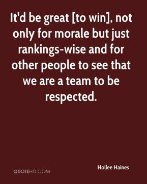 Hollee Haines - It'd be great [to win], not only for morale but just rankings-wise and for other people to see that we are a team to be respected.