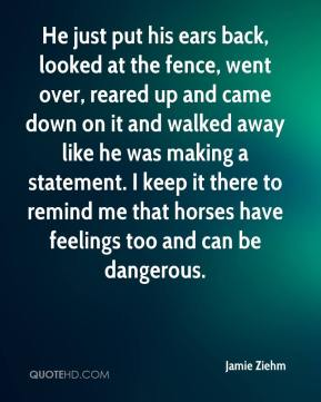 Jamie Ziehm - He just put his ears back, looked at the fence, went over, reared up and came down on it and walked away like he was making a statement. I keep it there to remind me that horses have feelings too and can be dangerous.