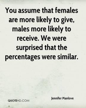Jennifer Manlove  - You assume that females are more likely to give, males more likely to receive. We were surprised that the percentages were similar.