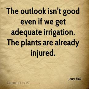 Jerry Zink  - The outlook isn't good even if we get adequate irrigation. The plants are already injured.