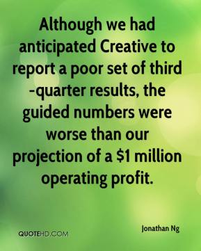 Jonathan Ng  - Although we had anticipated Creative to report a poor set of third-quarter results, the guided numbers were worse than our projection of a $1 million operating profit.