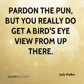Judy Walker  - Pardon the pun, but you really do get a bird's eye view from up there.