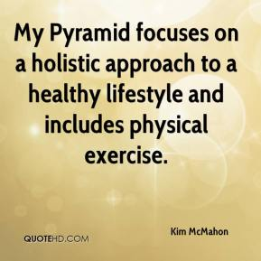 Kim McMahon  - My Pyramid focuses on a holistic approach to a healthy lifestyle and includes physical exercise.