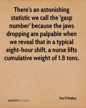Pat O'Malley  - There's an astonishing statistic we call the 'gasp number' because the jaws dropping are palpable when we reveal that in a typical eight-hour shift, a nurse lifts cumulative weight of 1.8 tons.