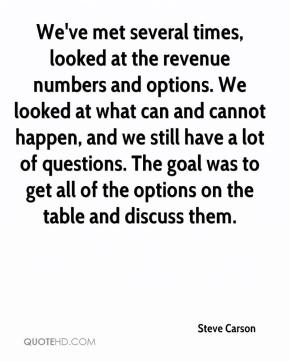 Steve Carson  - We've met several times, looked at the revenue numbers and options. We looked at what can and cannot happen, and we still have a lot of questions. The goal was to get all of the options on the table and discuss them.