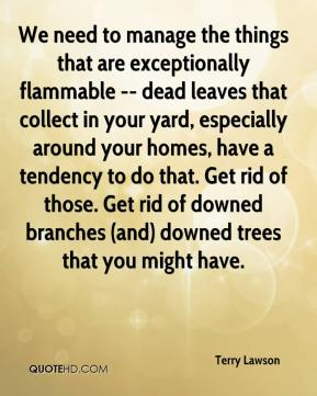 Terry Lawson  - We need to manage the things that are exceptionally flammable -- dead leaves that collect in your yard, especially around your homes, have a tendency to do that. Get rid of those. Get rid of downed branches (and) downed trees that you might have.