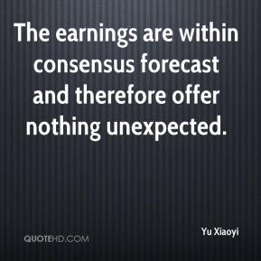 Yu Xiaoyi  - The earnings are within consensus forecast and therefore offer nothing unexpected.