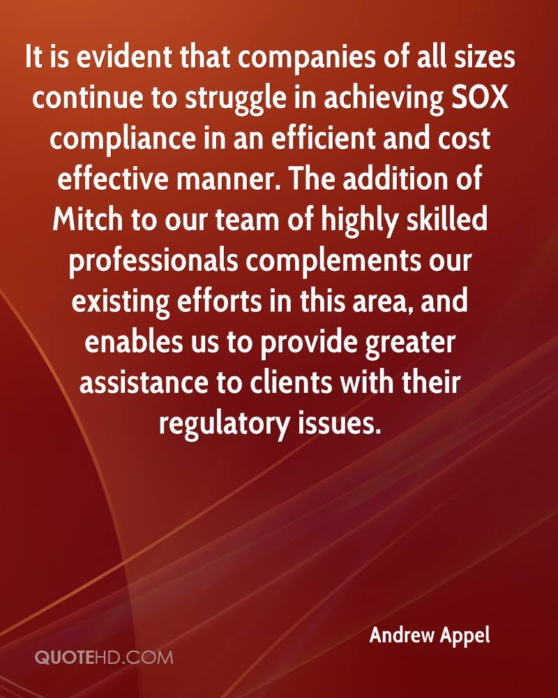 It is evident that companies of all sizes continue to struggle in achieving SOX compliance in an efficient and cost effective manner. The addition of Mitch to our team of highly skilled professionals complements our existing efforts in this area, and enables us to provide greater assistance to clients with their regulatory issues.