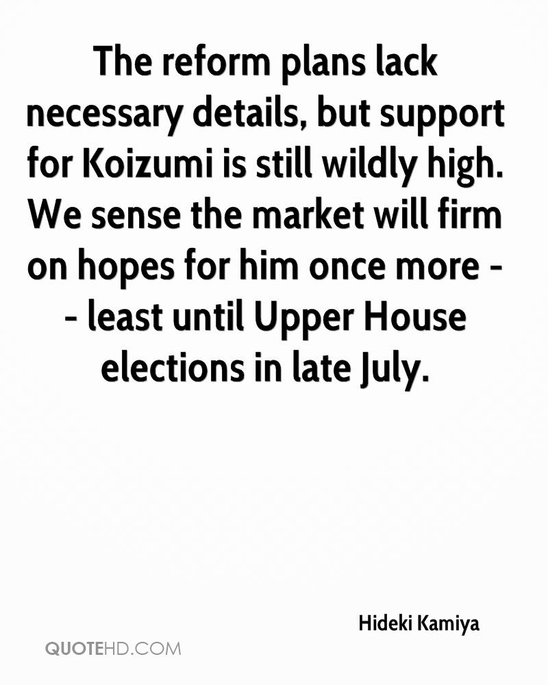 The reform plans lack necessary details, but support for Koizumi is still wildly high. We sense the market will firm on hopes for him once more -- least until Upper House elections in late July.