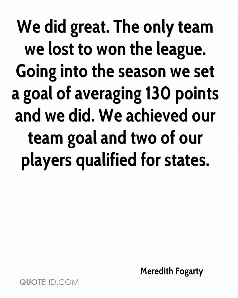 We did great. The only team we lost to won the league. Going into the season we set a goal of averaging 130 points and we did. We achieved our team goal and two of our players qualified for states.