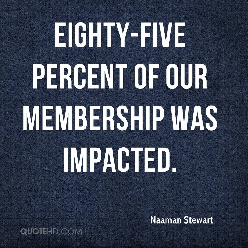 Eighty-five percent of our membership was impacted.
