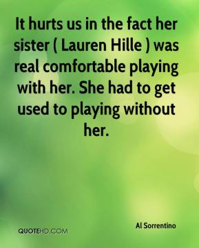Al Sorrentino - It hurts us in the fact her sister ( Lauren Hille ) was real comfortable playing with her. She had to get used to playing without her.