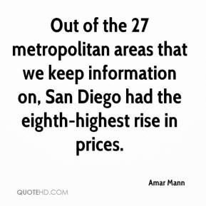 Amar Mann - Out of the 27 metropolitan areas that we keep information on, San Diego had the eighth-highest rise in prices.