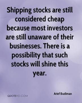 Arief Budiman - Shipping stocks are still considered cheap because most investors are still unaware of their businesses. There is a possibility that such stocks will shine this year.