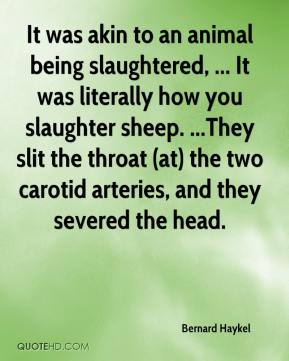 Bernard Haykel - It was akin to an animal being slaughtered, ... It was literally how you slaughter sheep. ...They slit the throat (at) the two carotid arteries, and they severed the head.