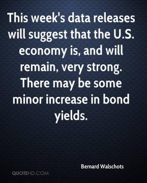 Bernard Walschots - This week's data releases will suggest that the U.S. economy is, and will remain, very strong. There may be some minor increase in bond yields.