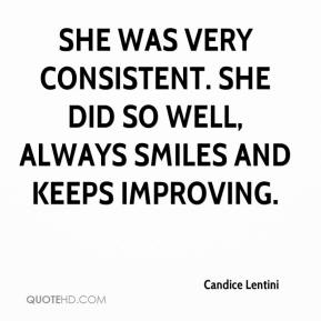 Candice Lentini - She was very consistent. She did so well, always smiles and keeps improving.