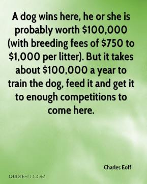 Charles Eoff - A dog wins here, he or she is probably worth $100,000 (with breeding fees of $750 to $1,000 per litter). But it takes about $100,000 a year to train the dog, feed it and get it to enough competitions to come here.
