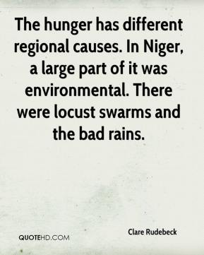 Clare Rudebeck - The hunger has different regional causes. In Niger, a large part of it was environmental. There were locust swarms and the bad rains.