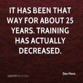 It has been that way for about 25 years. Training has actually decreased.