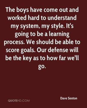 Dave Sexton - The boys have come out and worked hard to understand my system, my style. It's going to be a learning process. We should be able to score goals. Our defense will be the key as to how far we'll go.