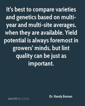 Dr. Randy Boman - It's best to compare varieties and genetics based on multi-year and multi-site averages, when they are available. Yield potential is always foremost in growers' minds, but lint quality can be just as important.