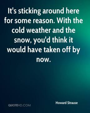 Howard Strause - It's sticking around here for some reason. With the cold weather and the snow, you'd think it would have taken off by now.