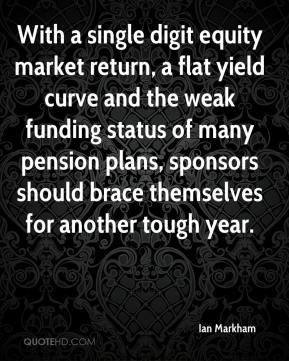 Ian Markham - With a single digit equity market return, a flat yield curve and the weak funding status of many pension plans, sponsors should brace themselves for another tough year.