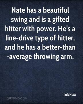 Jack Hiatt - Nate has a beautiful swing and is a gifted hitter with power. He's a line-drive type of hitter, and he has a better-than-average throwing arm.