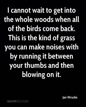 Jan Wrucke - I cannot wait to get into the whole woods when all of the birds come back. This is the kind of grass you can make noises with by running it between your thumbs and then blowing on it.