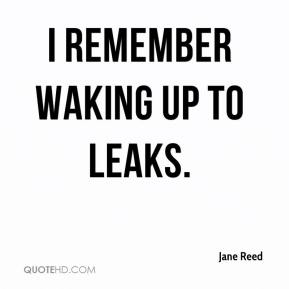 Jane Reed  - I remember waking up to leaks.