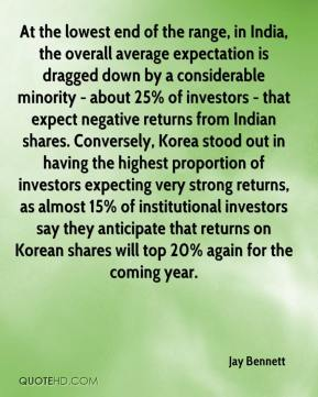 Jay Bennett  - At the lowest end of the range, in India, the overall average expectation is dragged down by a considerable minority - about 25% of investors - that expect negative returns from Indian shares. Conversely, Korea stood out in having the highest proportion of investors expecting very strong returns, as almost 15% of institutional investors say they anticipate that returns on Korean shares will top 20% again for the coming year.