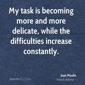 Jean Moulin - My task is becoming more and more delicate, while the difficulties increase constantly.