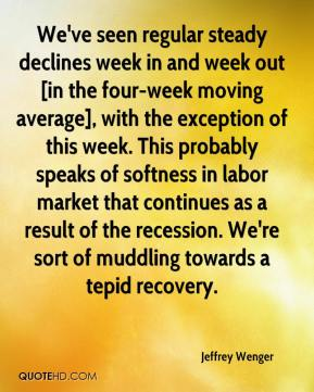 Jeffrey Wenger  - We've seen regular steady declines week in and week out [in the four-week moving average], with the exception of this week. This probably speaks of softness in labor market that continues as a result of the recession. We're sort of muddling towards a tepid recovery.