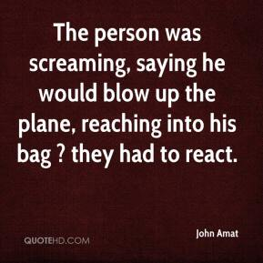John Amat  - The person was screaming, saying he would blow up the plane, reaching into his bag ? they had to react.
