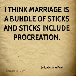 Judge Jerome Farris  - I think marriage is a bundle of sticks and sticks include procreation.