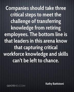 Kathy Battistoni  - Companies should take three critical steps to meet the challenge of transferring knowledge from retiring employees. The bottom line is that leaders in this arena know that capturing critical workforce knowledge and skills can't be left to chance.