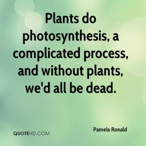 Pamela Ronald  - Plants do photosynthesis, a complicated process, and without plants, we'd all be dead.