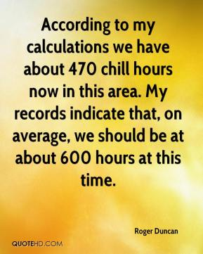 Roger Duncan  - According to my calculations we have about 470 chill hours now in this area. My records indicate that, on average, we should be at about 600 hours at this time.